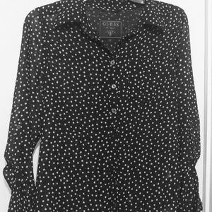GUESS B&W Confetti Dot Sheer Long Sleeve Blouse